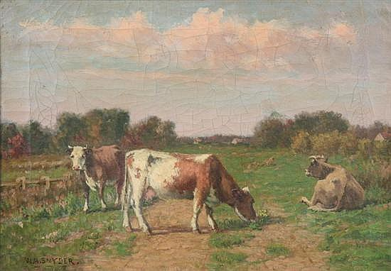 WILLIAM HENRY SNYDER (American, 1829-1910). COWS IN THE PASTURE, signed lower right. Oil on canvas.