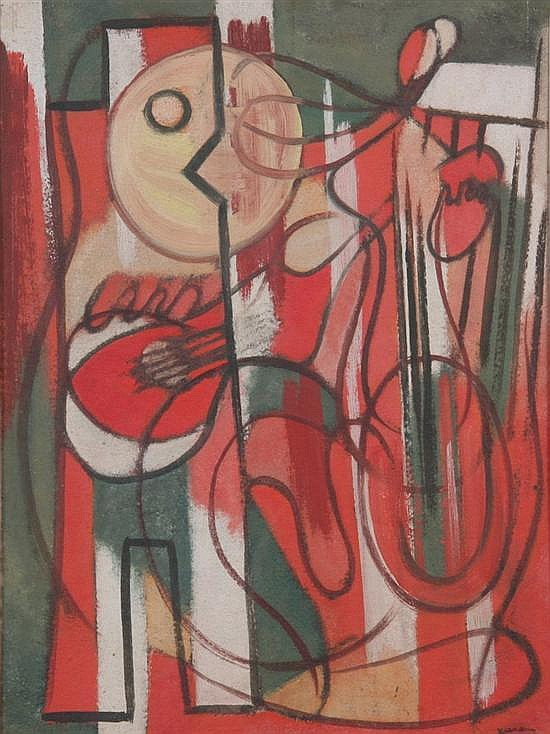 JEAN XCERON (American, 1890-1967). GEOMETRIC MUSICIANS, signed and dated ''33 lower right. Oil on board.