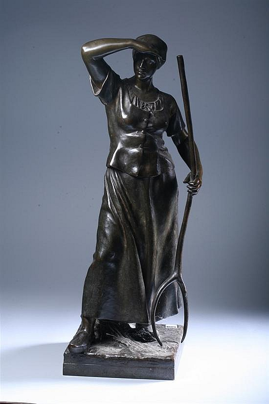 ANTONIN LARROUX (French, b. 1859). HARVESTER, signed on base. Bronze.