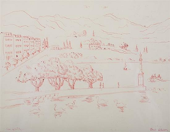 ALICE STANLEY ACHESON (American, 1895-1996). BOSTON COMMON WITH SWAN PONDS, signed lower right, titled indistinctly lower left. Red ink