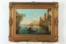 ATTRIBUTED TO NICHOLAS BRIGANTI (Italian, 1861-1944). VENETIAN CANAL SCENE, oil on canvas.