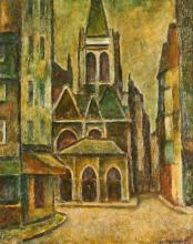 JOSÉ FABRI-CANTI (French, 1910-1994). VIEW OF CHURCH FACADE, signed lower right. Oil on board.