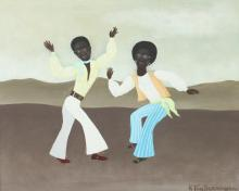 RON VAN SWERINGEN (American, 1936 - 2016). SPRING, ( African-Americans Dancing ), signed lower right and titled on verso. Oil on board.
