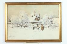 STEFAN CZERWINSKI (Polish, 19th/20th century). VILLAGE SNOW SCENE, signed lower left. Watercolor.