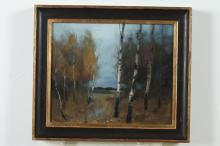 JUSSI POYHONEN (Finnish, b. 1975). FALL, initialled lower right; also signed, titled and dated 2013 verso. Oil on panel.