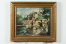 FRANCOIS CLAVER (French, b. 1918). LE PONT NEUF, PARIS, signed and titled verso. Oil on canvas.