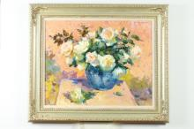 OVANES BERBERIAN. (American, b. 1951). WHITE ROSES, signed upper right; also signed and titled verso. Oil on canvas.