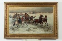 PJOTR C. STOJANOW (Bulgarian, 1857-1957). WINTER SLEDDING SCENE, signed lower right. Oil on canvas.