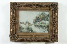 CONTINENTAL SCHOOL (20th century). VILLAGE ALONG CANAL, signed illegibly lower right. Oil on canvas .