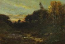 WILLIAM KEITH (American, 1838-1911). SUNSET ALONG CALIFORNIA STREAM, signed lower right. Oil on canvas.