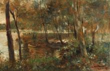 GIOVANNI GUERRINI (Italian born 1887). CANOE ALONG  RIVER BANK WITH WOODS, signed lower right. Oil on canvas.