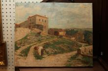 SOUTHERN EUROPEAN SCHOOL (Late 19th Century). View at Edge of Village, oil on canvas , signed illegibly lower right.
