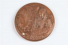 MAGDELEINE MOCQUOT (French, 1910-1991). ELIZABETHAN MUSIC, Pure copper relief medallion. No. 5/100 Obverse: Henry III, Mary Tudor, Anne