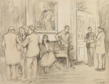SAMUEL JOHNSON WOOLF (American, 1880-1948). CITY HALL INTERIOR, NEW YORK, signed and titled lower right. Charcoal.