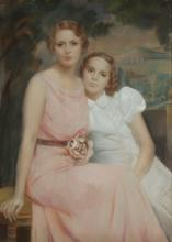 AMERICAN SCHOOL (20th century). MOTHER AND DAUGHTER, pastel.