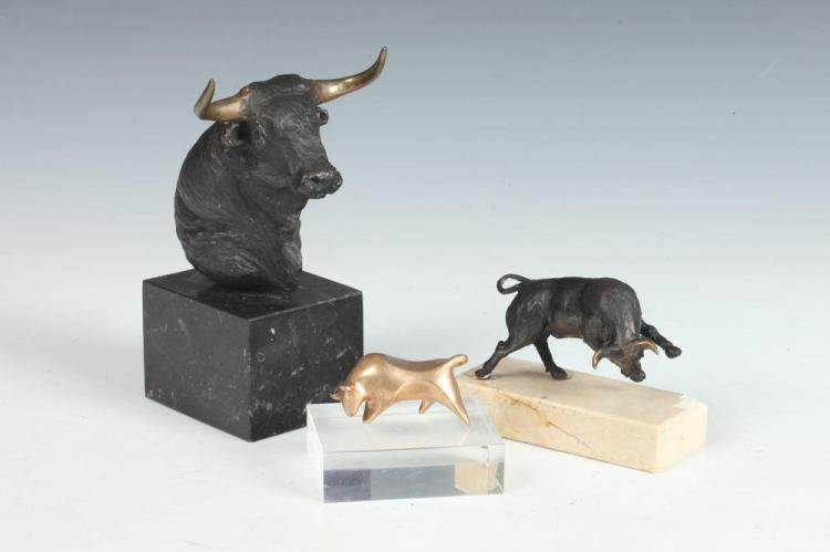 FERNANDO VEIGA. (Spanish, b. 1943). BULLS: THREE WORKS, first; signed and numbered 51/250, second; signed. Bronze.