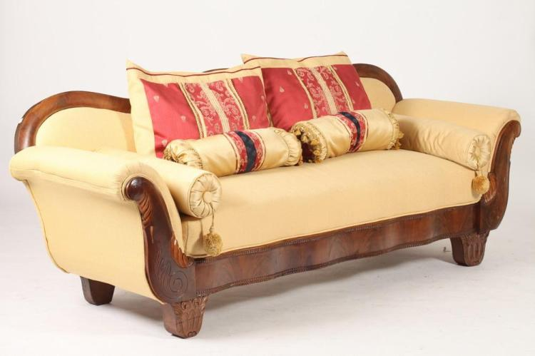 Nicely Upholstered American Empire Sofa With Bolsters Rect