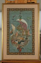 ANONYMOUS (Persian, 19th/20th century). FIGURES ON BOAT, Ink and color on silk, framed.