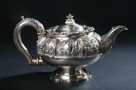 GEORGE IV SILVER TEAPOT, Charles and John Fry II, London, 1824. - 19 oz.; 5 1/4 in. high.