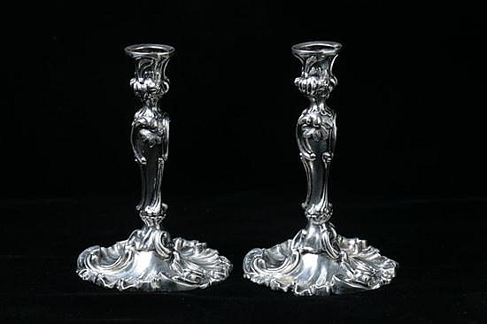 PAIR MINIATURE SWEDISH ROCOCO-STYLE SILVER CANDLESTICKS. Circa 1840. - 3 oz., 2 dwt.; 4 1/4 in. high.