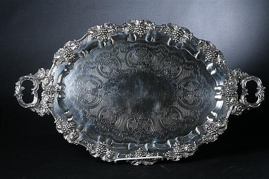 BARBOUR SILVER CO. SILVER PLATE AND STERLING SILVER SERVING TRAY. - 18 1/4 in. x 31 in.