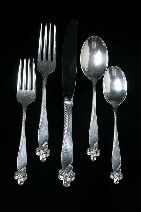 68-PIECE WALLACE STERLING SILVER FLATWARE SERVICE,