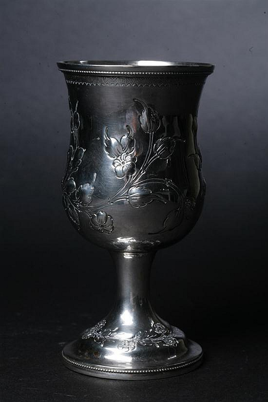 AMERICAN COIN SILVER GOBLET BY JOHN KITTS. Circa 1859; Louisville, KY. - 5 oz., 2 dwt.; 6 1/4 in. high.