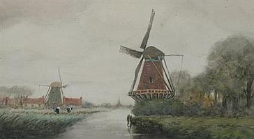 GEORGE LINTON HERDLE (American, 1868-1922). DUTCH WINDMILL WITH COWS, signed lower left. Watercolor.