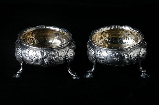 PAIR GEORGE III SILVER SALTS, SM, London, circa 1762. - 4 oz., 2 dwt.; 1 1/2 in. x 2 1/2 in. diam.