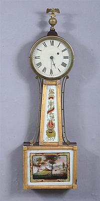 WILLARD-STYLE AMERICAN BANJO CLOCK, Early 19th century. - 29 3/4 in. high without finial; 33 3/4 in. high with finial.