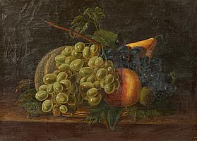FREDERICK WILLIAM BILLING (American 1835 - 1914). STILL LIFE WITH GRAPES, signed and dated 1859 lower left. Oil on canvas.