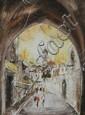 BEN AVRAM (Indian, b. 1937). ARCHWAY IN JERUSALEM, signed lower left. Oil on canvas.