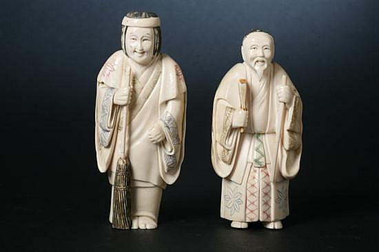 TWO JAPANESE IVORY FIGURES OF MEN. - 5 1/2 in. high.