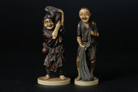 TWO JAPANESE FAUX IVORY FIGURES OF MEN. - 5 3/8 in. high.