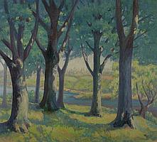 FRANCES FARRAND DODGE (American, b. 1878). TREES ALONG RIVER WITH CITY IN DISTANCE, signed lower right. Oil on canvas.