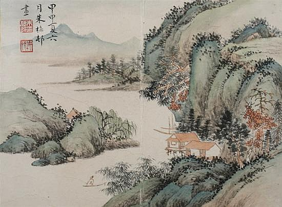 AFTER ZHU MEICUN (Chinese, 1911-1993). RIVERSCAPES, ten ink and color on paper album leaves, signed and sealed.