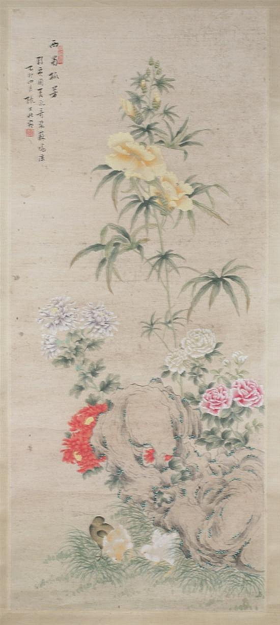 AFTER ZHANG DAZHUANG (Chinese, 1900-1980). FLOWERS, ink and color on paper, signed and sealed, dated yi mao, 1975.
