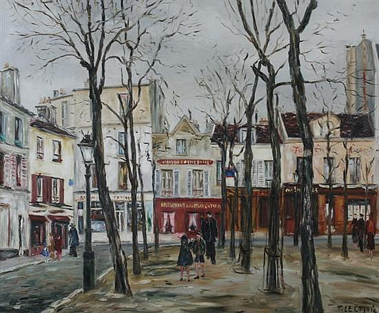 FRANCIS LE COADIC (French, b. 1912). PLACE DE TENTRE, MONTMARTRE, PARIS, signed lower right; also signed and dated 1951 on verso. Oil o