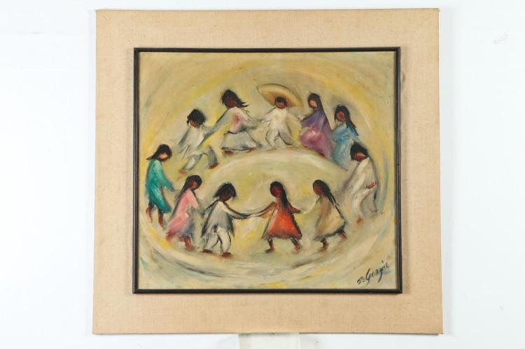 TED DE DEGRAZIA. (American, 1909-1982). CIRCLE OF MEXICAN CHILDREN AT DANCE, signed lower right. Oil on board.