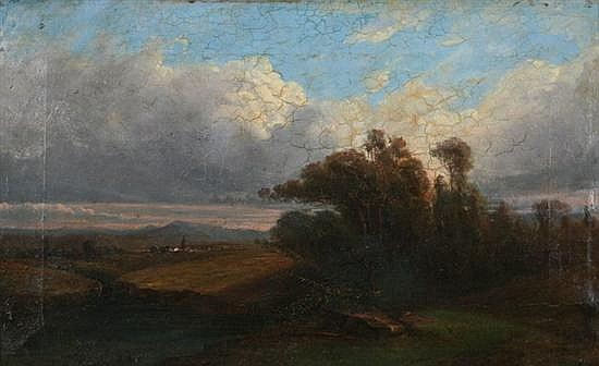MICHEL BOUQUET (French, 1807-1890). BARBIZON LANDSCAPE, signed lower right. Oil on canvas.
