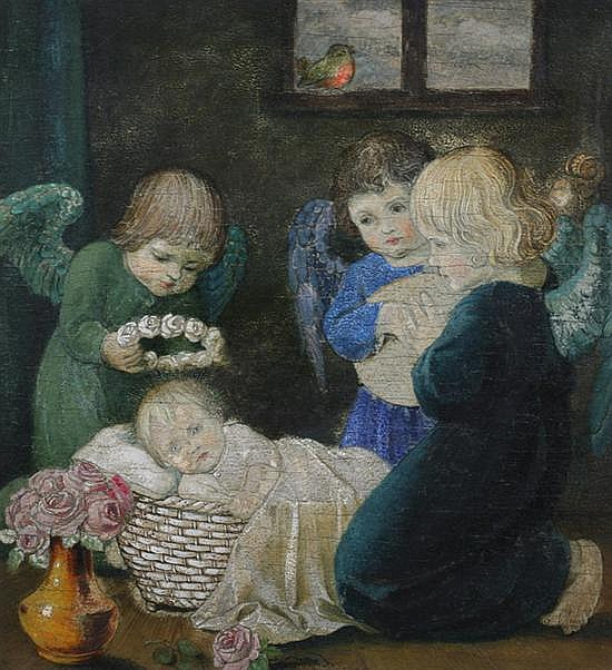 HANS HUBER-SULZEMOOS (German, 1873-1951). THE CHRIST CHILD WITH ANGELS, signed and located