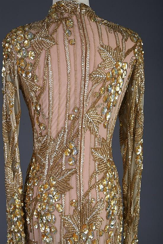 Bob mackie gold sequined evening gown circa 1980s bob mack for A b mackie salon