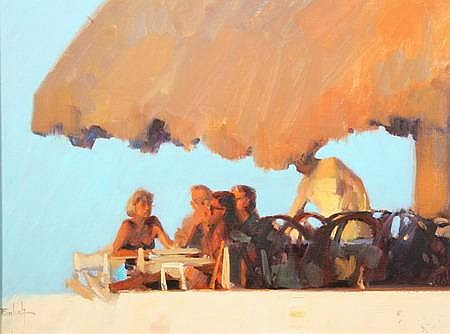KIM ENGLISH (American, b. 1957). TOURISTS ON VERANDA, signed lower left. Oil on canvas.