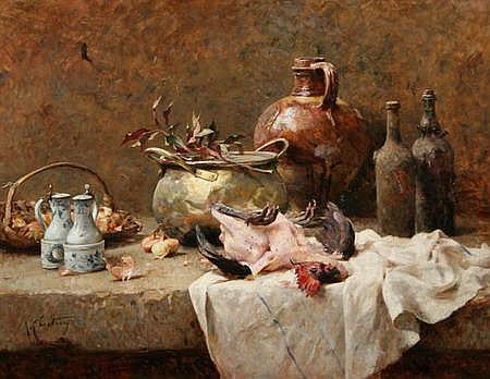 RÉNE LOUIS CHRÉTIEN (French, 1867-1942). LE POULET, signed lower left. Oil on canvas.