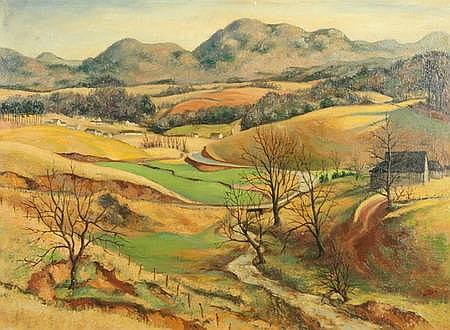 LEO JOHN MEISSNER (American, 1895-1977). POLE CREEK, NORTH CAROLINA, signed lower right. Located on reverse. Oil on canvas board.