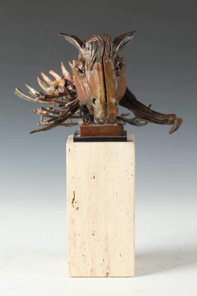 TED GALL (American, b. 1941). FACE FACET HORSE, signed. Bronze.