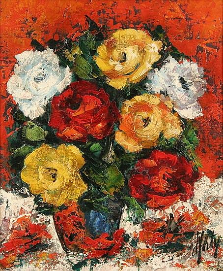 HENRI D ANTY (French, 1910-1998). VASE OF ROSES, signed lower right. Oil on canvas.