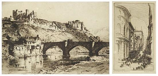 ALBANY A. HOWARTH (English, 1872-1936). RICHMOND, YORKSHIRE, signed lower right. Etching.