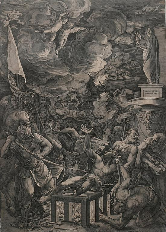 CORNELUS DE CORT (Dutch, 1533-1578). THE MARTYRDOM OF SAINT LAWRENCE, signed in plate. Engraving (after Titian).
