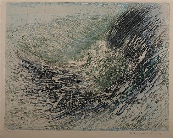 KRISHNA REDDY (American b. 1925). LA VAGUE, signed and numbered 34/65 in lower margin. Viscosity printed in intaglio.